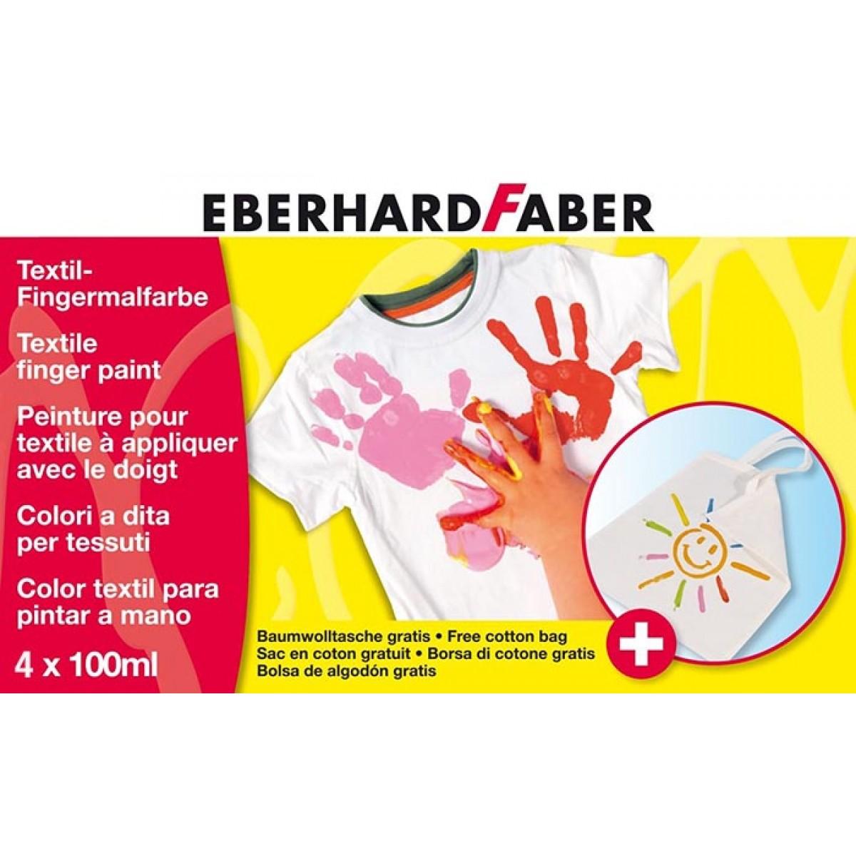 Eberhard Faber Δακτυλομπογιές Textile (4 Χρώματα) 100ml + Μια Πάνινη Τσάντα Είδη Ζωγραφικής