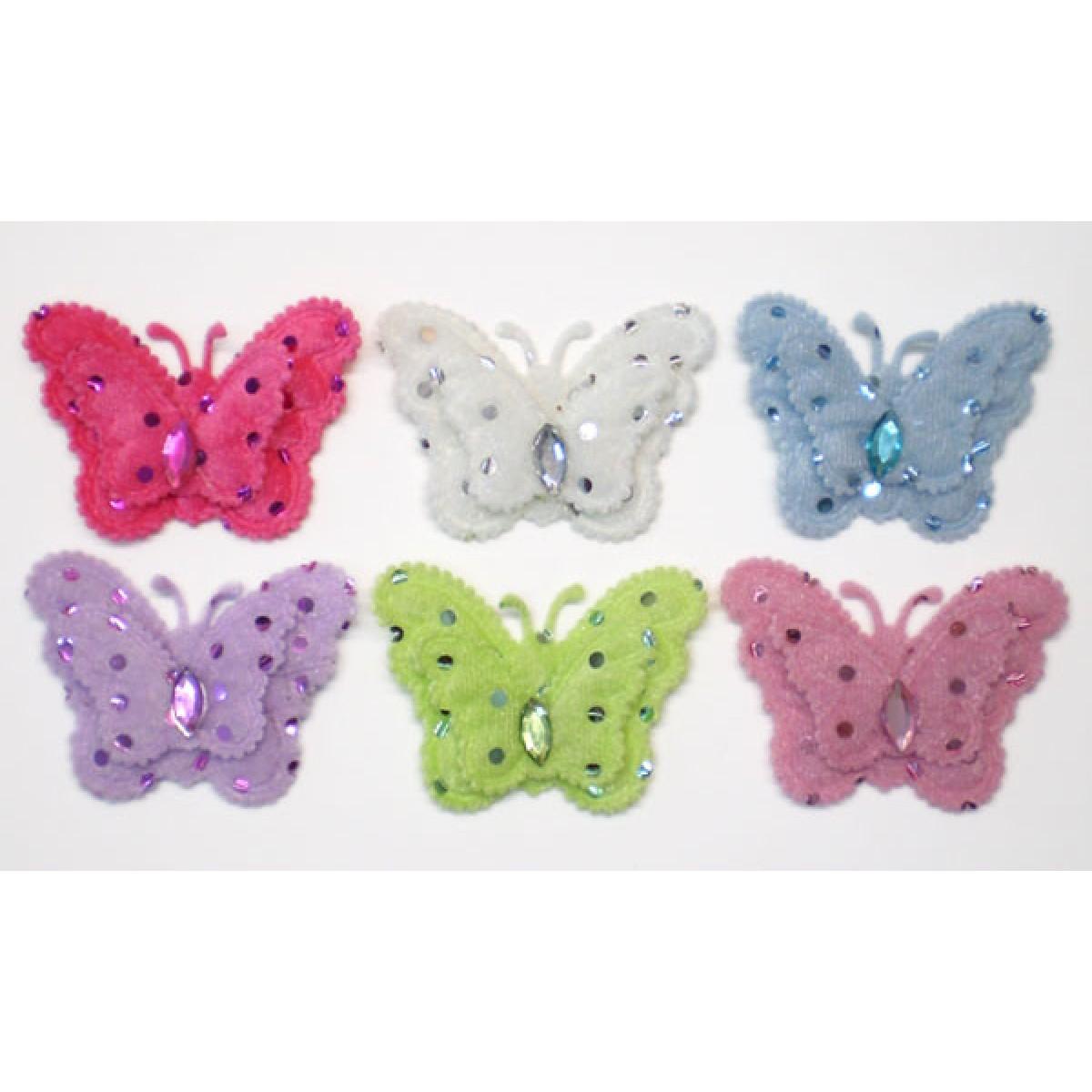 Πάνινη Διακοσμητική Πεταλούδα Με Στρας Λιλά Υλικά Χειροτεχνίας