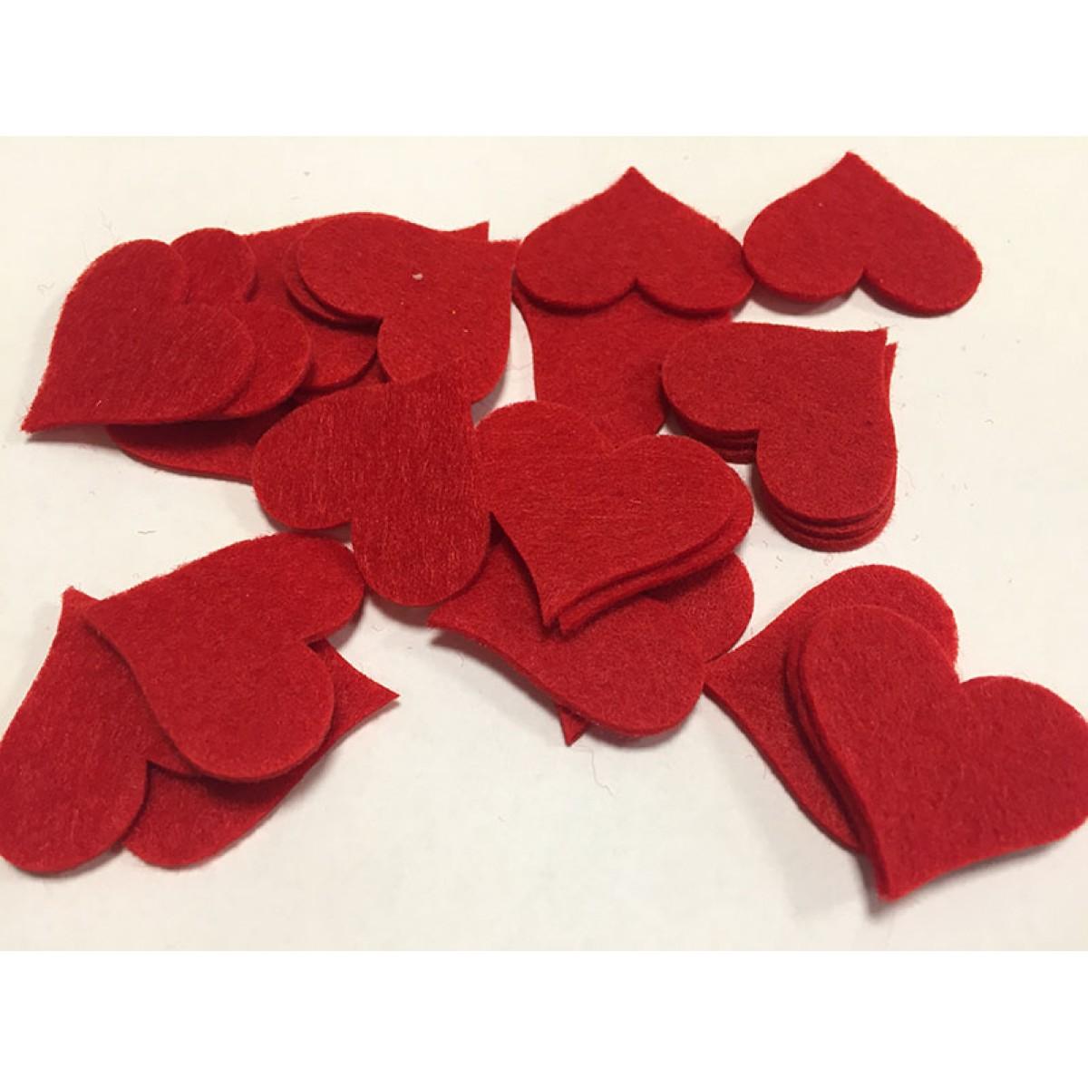 Καρδιές Τσόχινες 35mm 24τεμ Υλικά Χειροτεχνίας