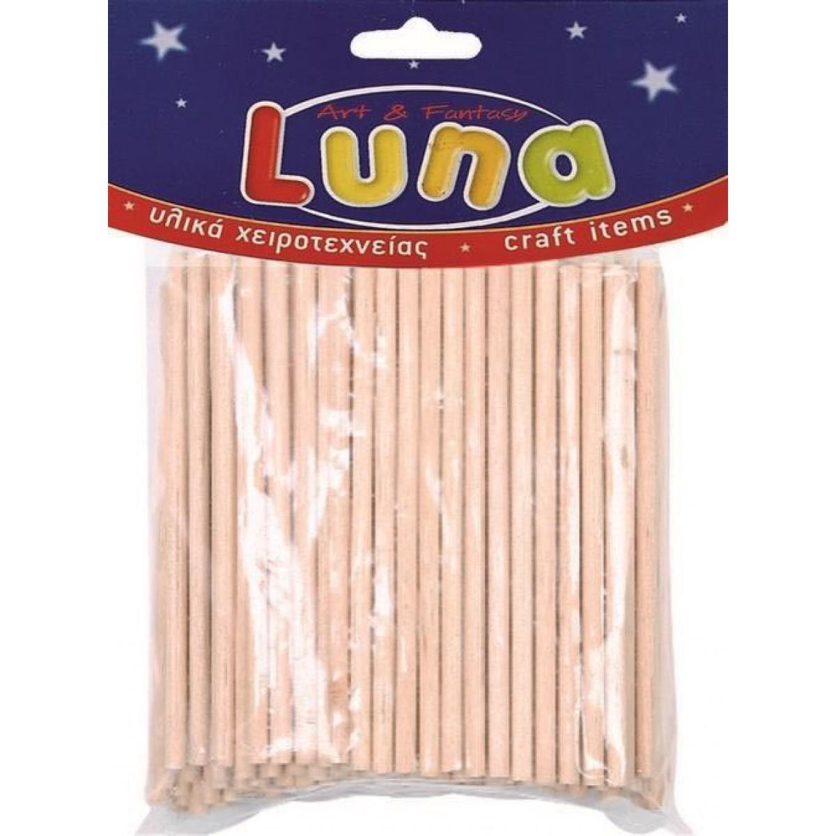 Luna Ξυλάκια Κυλινδρικά (100 Τεμ.) Υλικά Χειροτεχνίας
