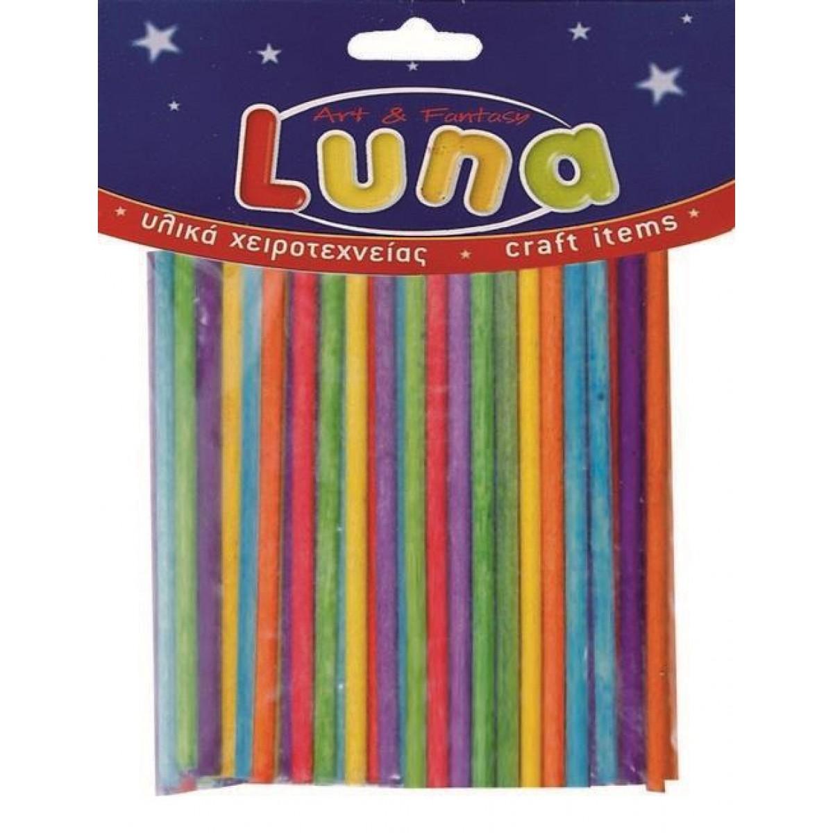 Luna Ξυλάκια Κυλινδρικά Μίξη Χρωμάτων (100 Τεμ.) Υλικά Χειροτεχνίας