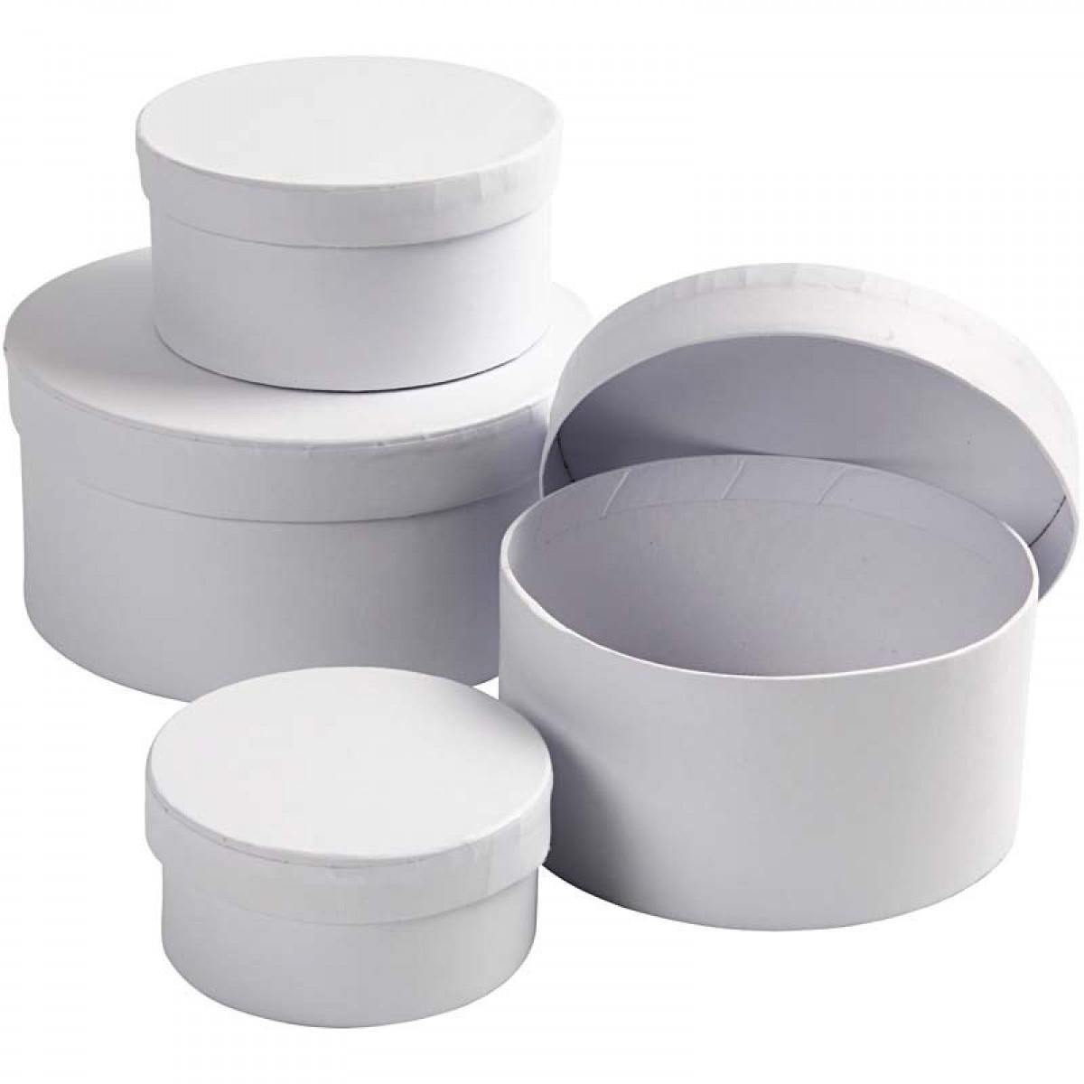 Κουτί Λευκό Στρογγυλό (4 Μεγ.) Υλικά Χειροτεχνίας