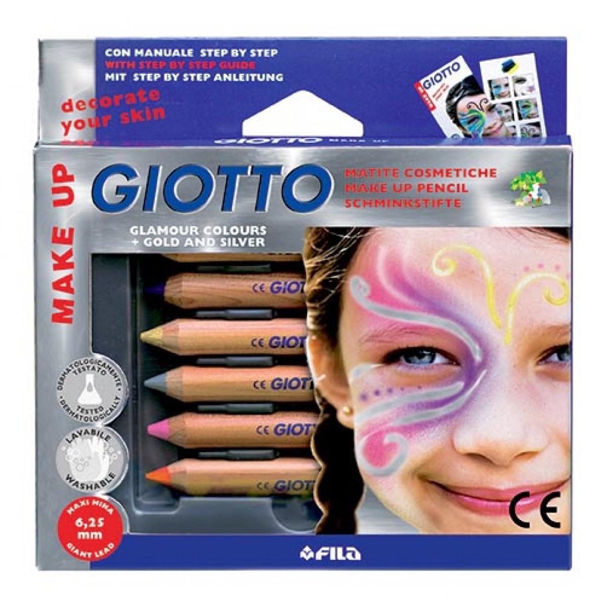 Giotto Μολύβια 6.25mm Για Το Πρόσωπο Glamour + Χρυσο & Ασημί (6 Τεμ.) Μπογιές για πρόσωπο
