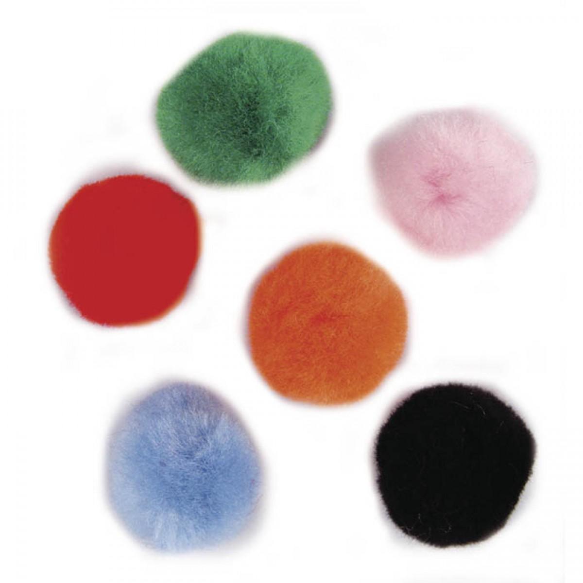Πομ Πον 25mm Διάφορα Χρώματα (35 Τεμ.) Υλικά Χειροτεχνίας