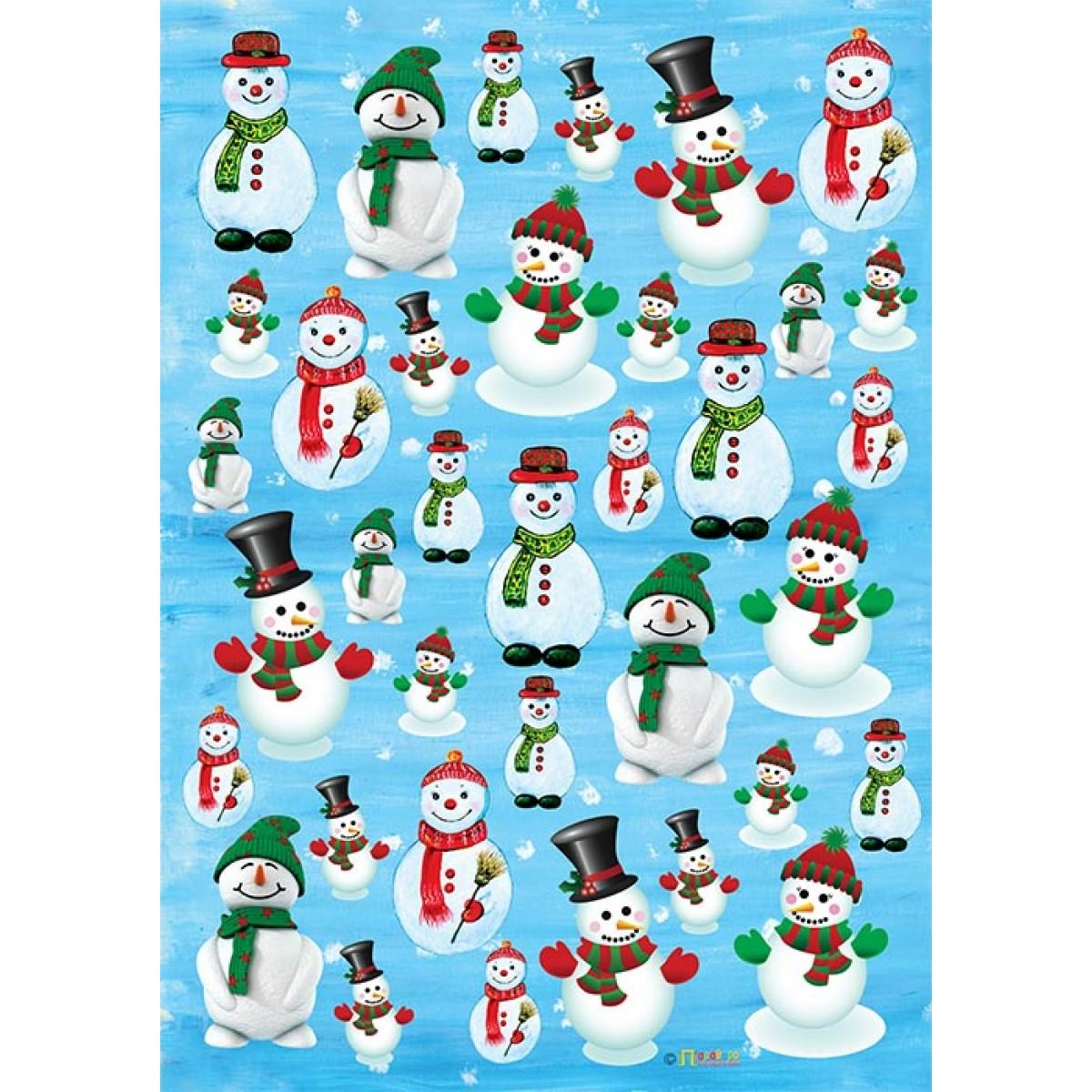 Χαρτόνι Παράθυρο Χιονάνθρωποι