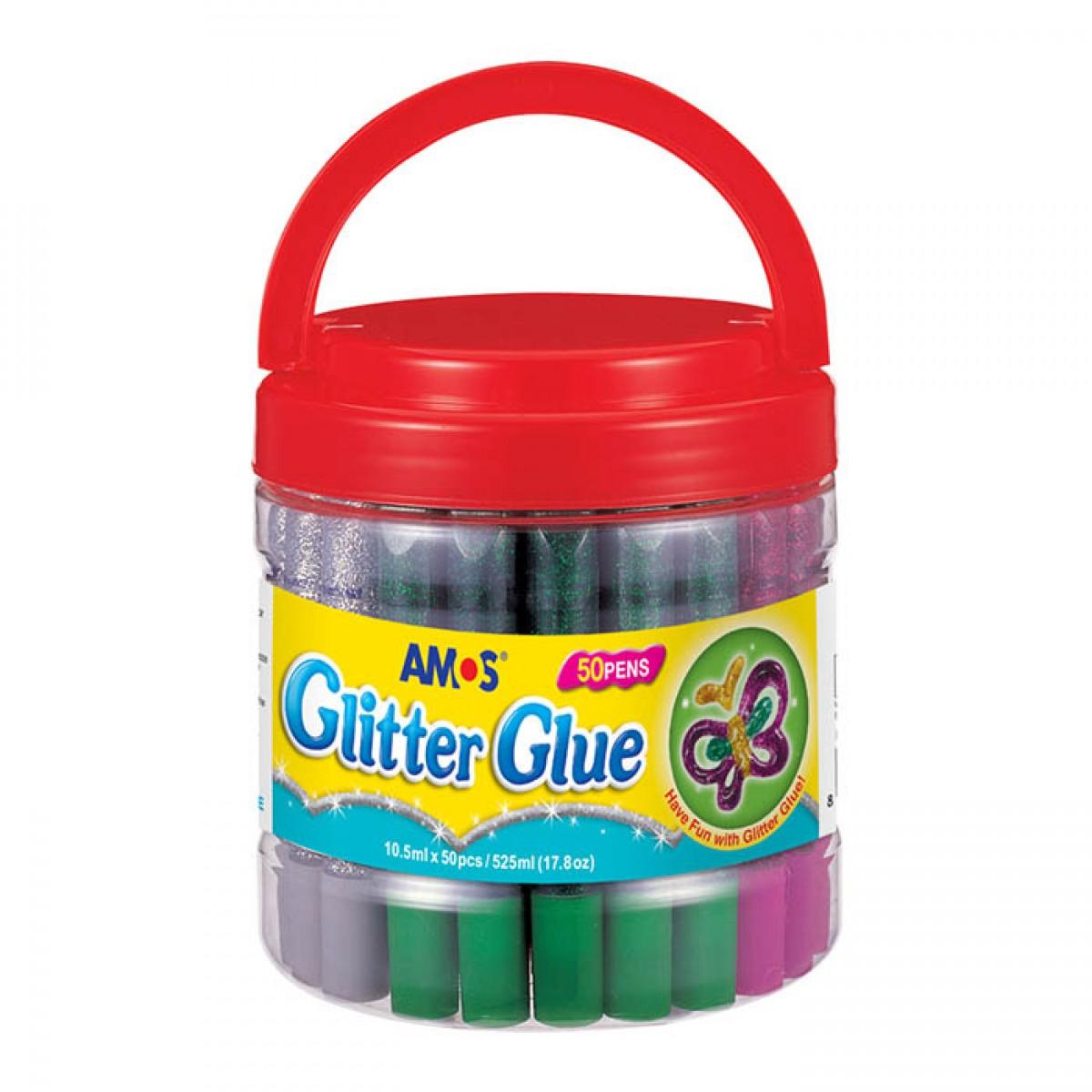 Amos Glitter Glue Χρυσόκολλες 10.5ml (50 Τεμ.) Είδη Ζωγραφικής