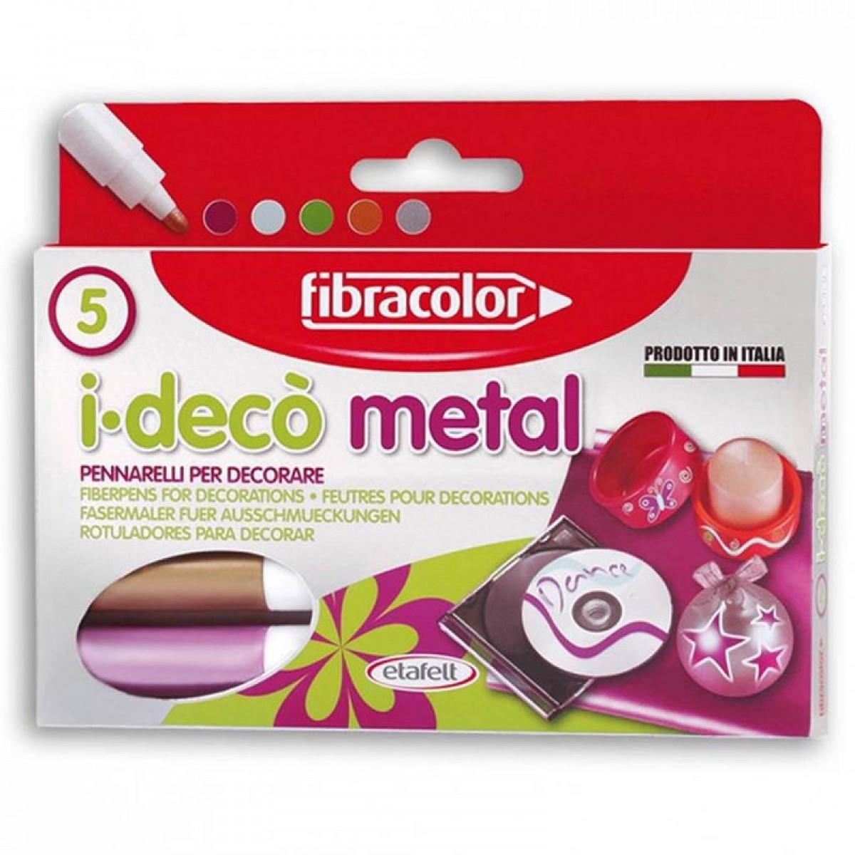 Fibracolor Μαρκαδόροι Ανεξίτηλοι Μεταλλικά Χρώματα (5 Τεμ.) Μαρκαδόροι