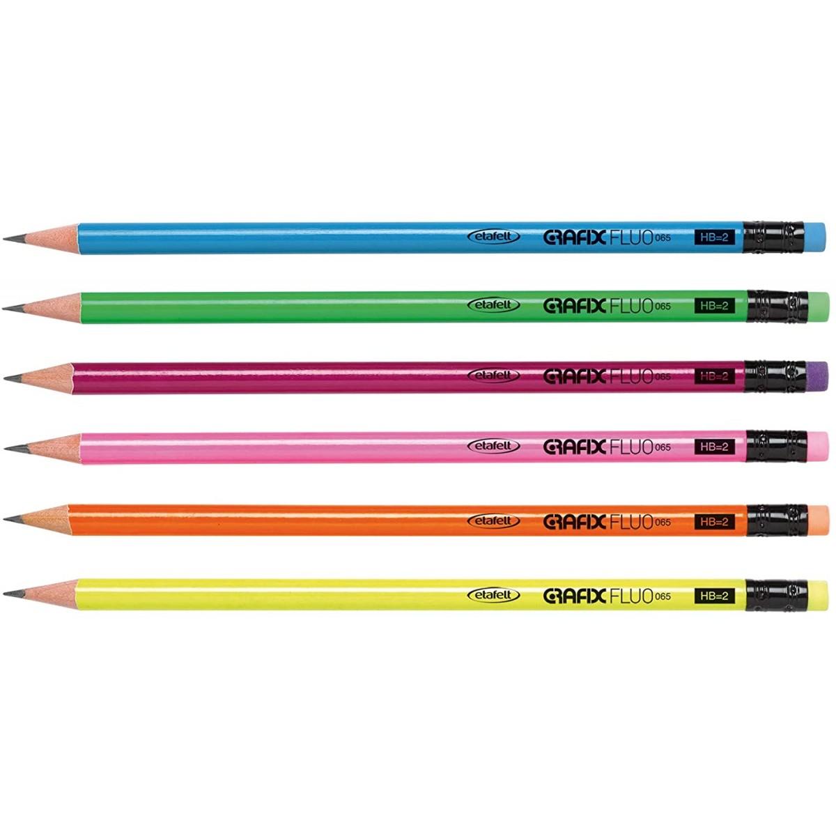 Hi-Text Μολύβι ΗΒ=2 Ξύλινο Fluo 6 Χρώματα